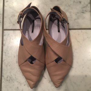 Zara Pointed Toe Flats -Nude/Blush